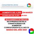 EL DR.HÉCTORPOLINOINFORMÓQUELOS RELEVAMIENTOS DE PRECIOS DE 21PRODUCTOS DE LA CANASTA BÁSICA DE ALIMENTOS CORRESPONDIENTES ALMES DEMARZODEL AÑO 2021TUVIERON UNAUMENTODEL 4.19%.LA SUMA ACUMULADA ES DEL 13.20%   El representante legal […]